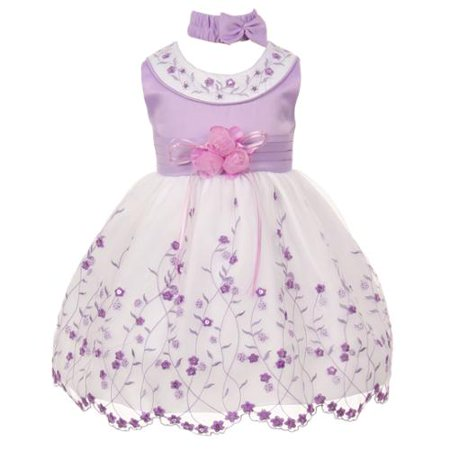 Multi Color Jeweled Flower - Baby Girls Lilac White Floral Jeweled Flower Girl Bubble Dress 3M
