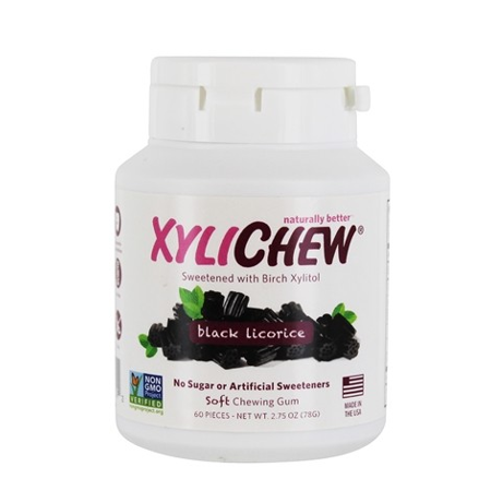 XyliChew Soft Chewing Gum Black Licorice -- 60 Pieces pack of 1