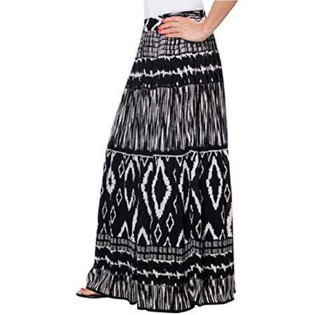 Womens Chaudry Peasant Gypsy Boho Pull-on Skirt, Long, Medium](Peasant Skirt)