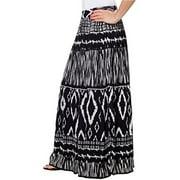 Womens Chaudry Peasant Gypsy Boho Pull-on Skirt, Long, Medium