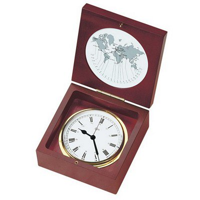 Barigo Quartz Ship Clock In A Box - Brass & Mahogany - 4