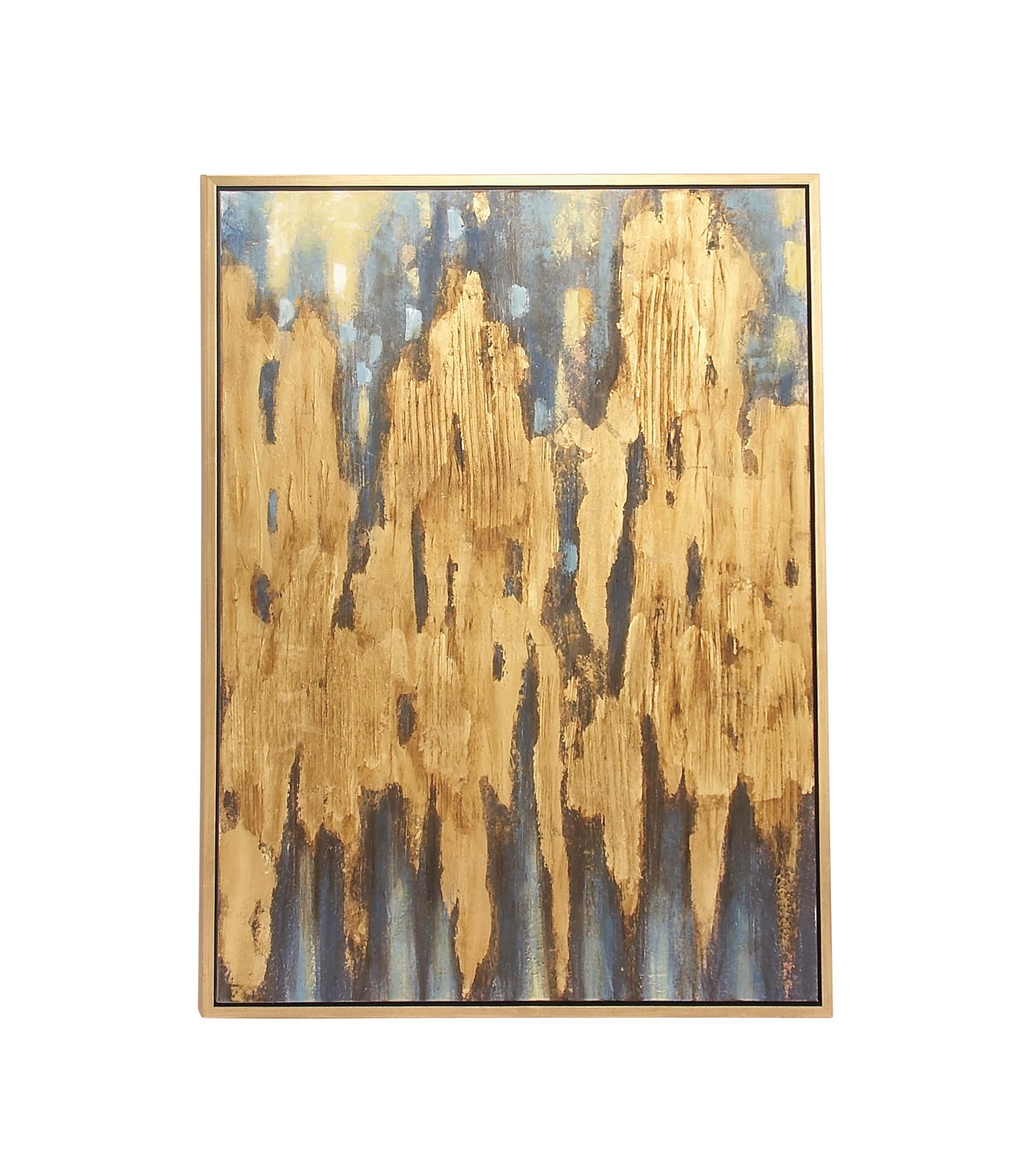 Decmode Glam 47 X 36 Inch Framed Abstract Canvas Art, Brown by DecMode
