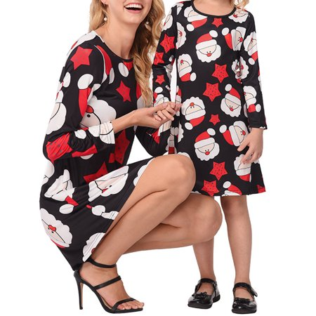 Ustyle Mother Kids Matching Outfits Long Sleeve Dress Christmas Pringting Short Dress - image 6 of 9