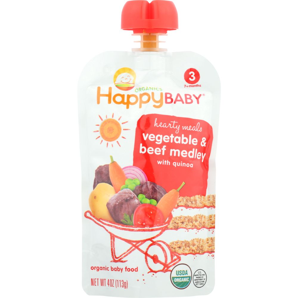 Happy Baby Baby Food, Organic, Hearty Meals, Vegetable & Beef Medley, 3 (7+ Months), 4 Oz (Pack Of 16)