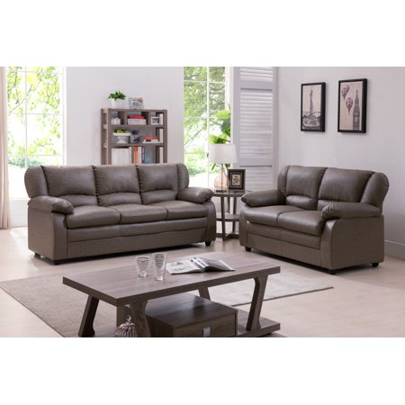 "Janine 2 Piece Gray Upholstered Vinyl Transitional Stationary Living Room Set (53"" Loveseat, 73.5"" Sofa)"