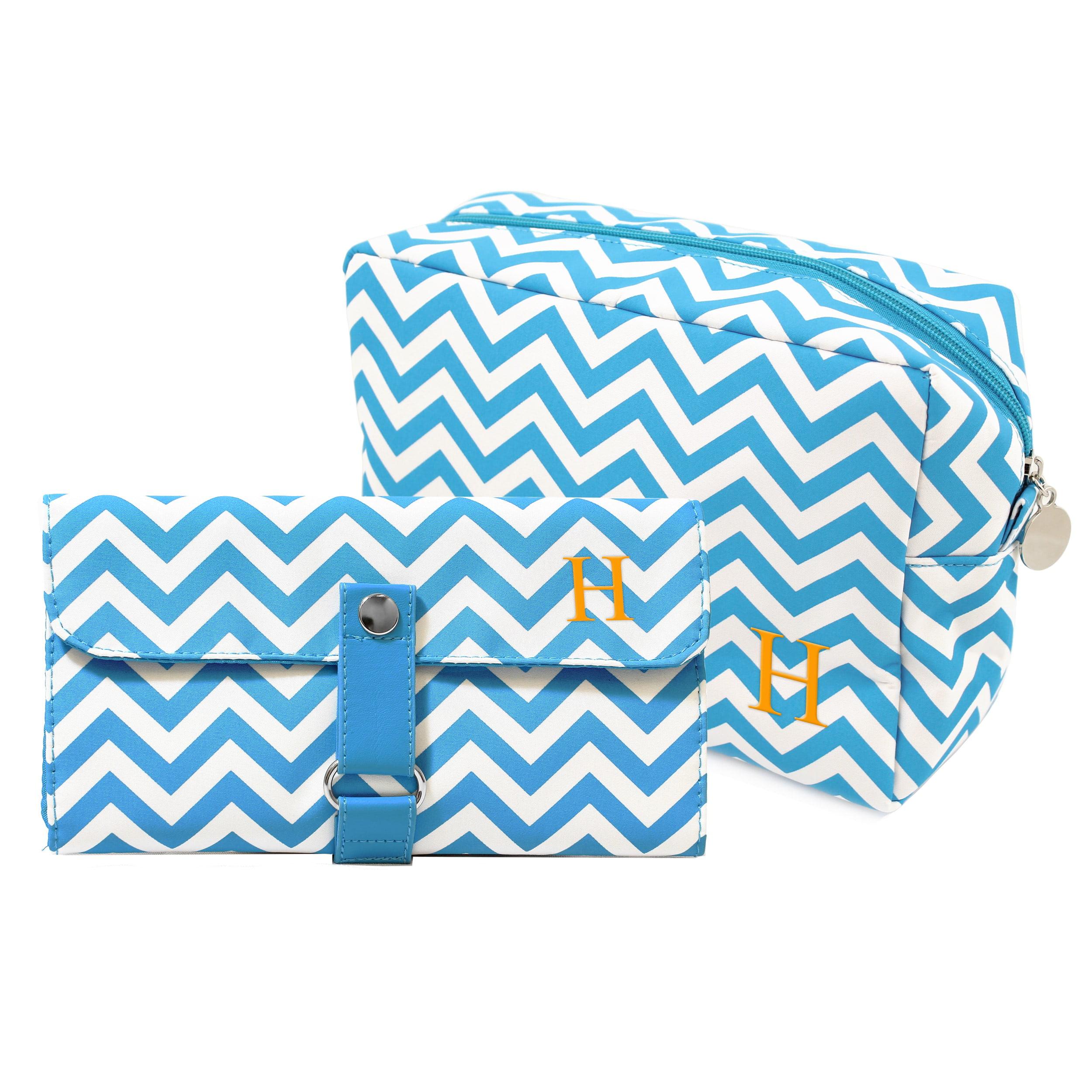 Personalized Aqua Spa Bag & Makeup Roll Brush Set Personalized Aqua Chevron 6-piece Spa Bag and Makeup Roll Brush Set