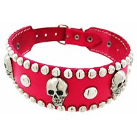 Leather Skull Studded Dog Collar