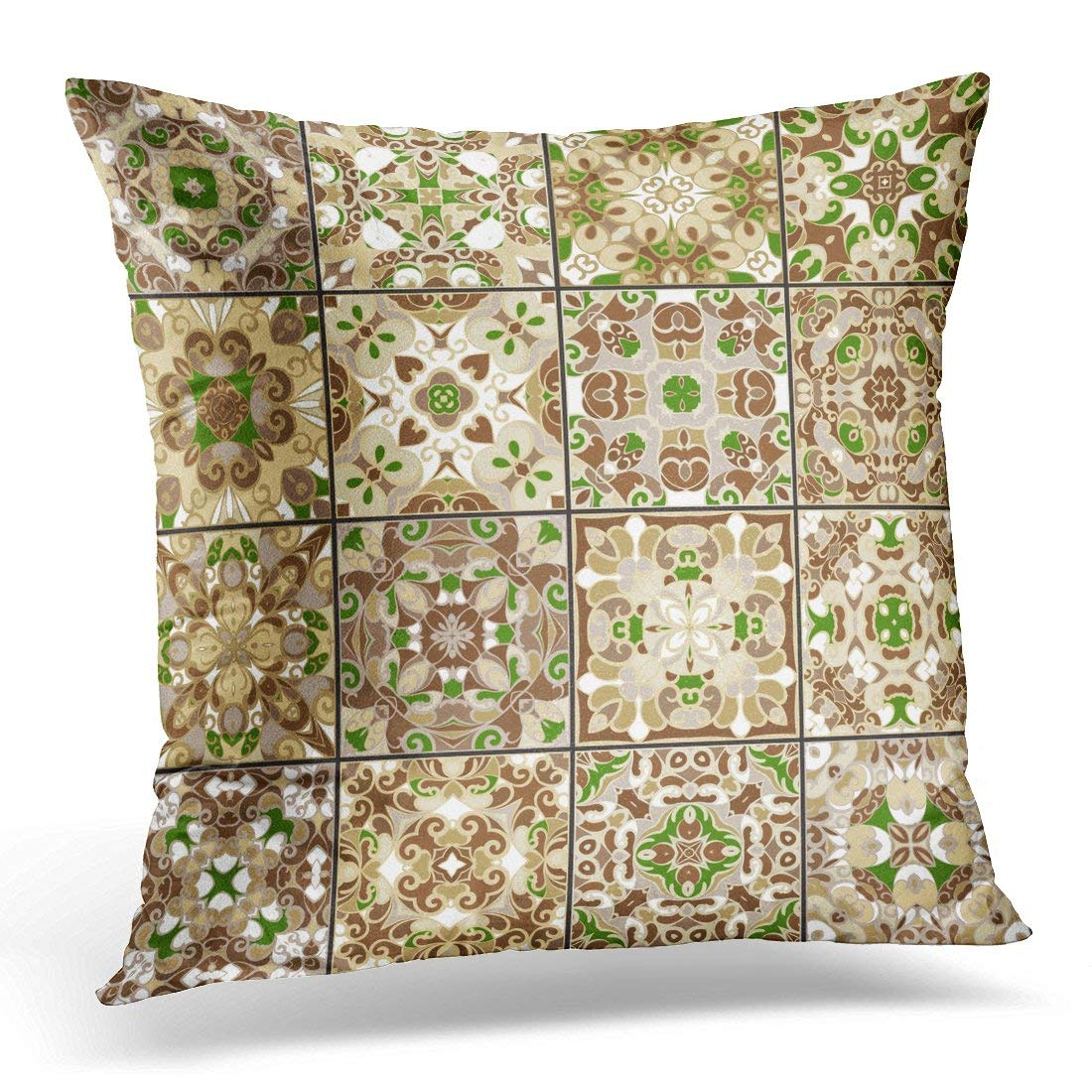 USART Brown Ancient Collection of Ceramic Tiles in Green Gold Colors Patterns Oriental Style Colorful Antique Pillow Cover 16x16 Inches Throw Pillow Case Cushion Cover