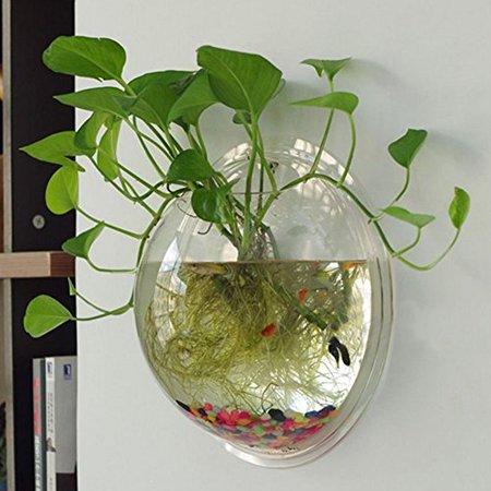 Sweetsea Creative Acrylic Hanging Wall Mount 1 Gallon Fish Tank Bowl