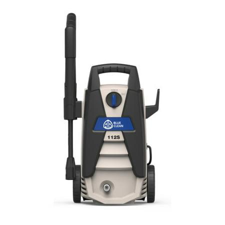 AR Blue Clean 1500 PSI Electric Pressure Washer, Spray Gun, Vari-Spary Lance, 20 Foot High-Pressure Soft PU Hose, 35 Foot Power Cord, 14 oz Detergent Bottle, Garden Hose adapter, AR112S