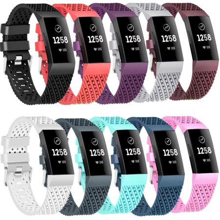 Moretek 10 PACK Charge 3 Wrist Bands, Multi-Color Silicone Replacement Band  Strap Accessories for Fitbit Charge 3 Women Men