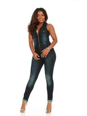 Cover Girl Denim Jumpsuit Jeans for Women Sleeveless Skinny Fit Overall Plus Size 18W Dark Biker Blue