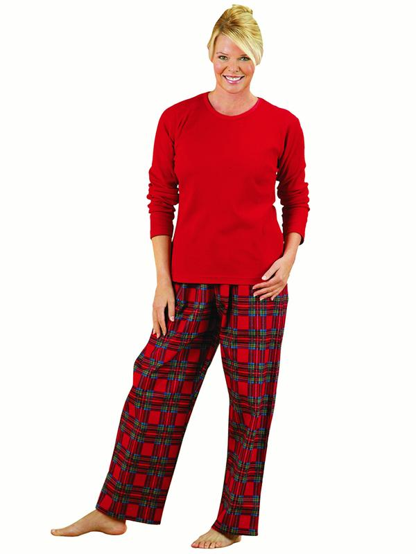 Women's Cozy Country Plaid Flannel Pajamas, Large, Navy