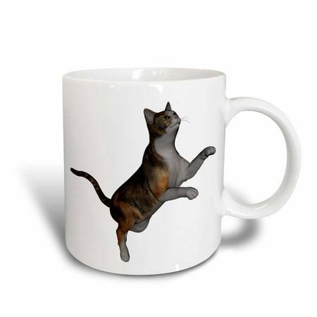 3dRose Jumping Calico Cat, Ceramic Mug, 11-ounce
