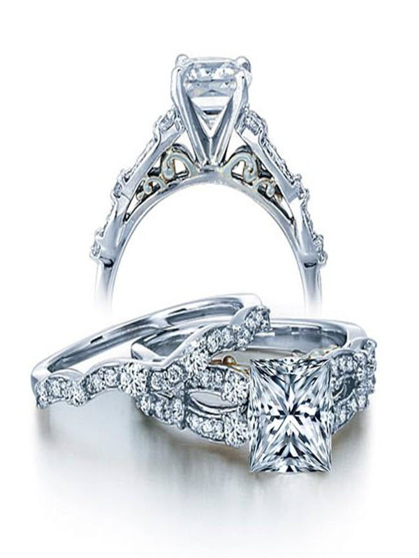 1 Carat Vintage Princess Diamond Wedding Ring Set for Her in White Gold by JeenJewels