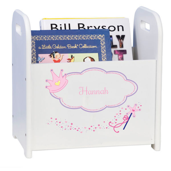 Personalized Fairy Princess White Book Caddy and Rack