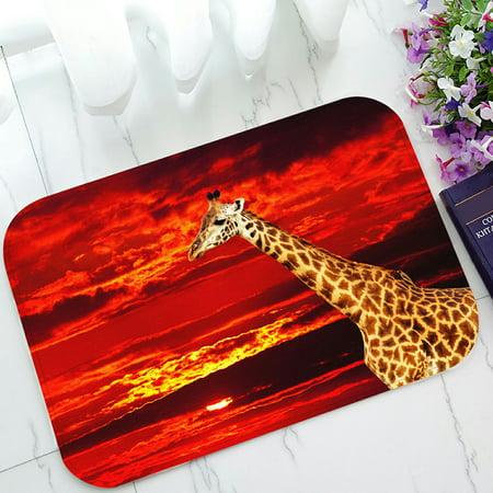 PHFZK Wild African Safari Doormat, Animal Giraffe against Red Sunset Landscape Doormat Outdoors/Indoor Doormat Home Floor Mats Rugs Size 23.6x15.7 inches - Red Floor