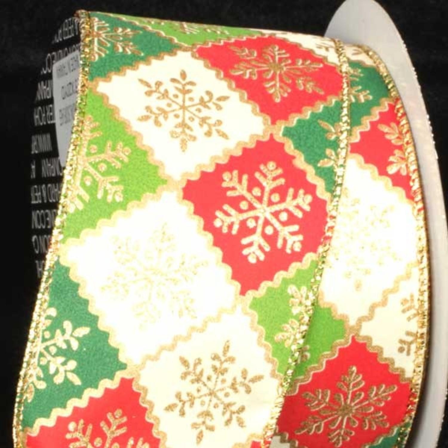 """Snowflake Lattice Ivory, Red and Green Wired Craft Ribbon 2.5"""" x 40 Yards"""