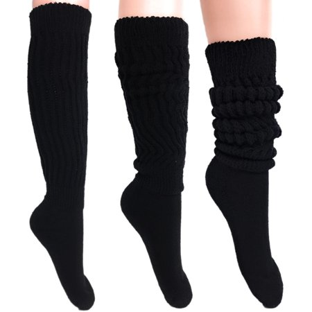 Black Slouch Socks for Women Made in USA Size 9 to 11 3 PAIRS](80s Slouch Socks)