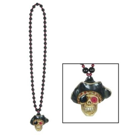 Club Pack of 12 Black and Red Beads with LED Flashing Pirate Skull Medallion Party Necklaces 36