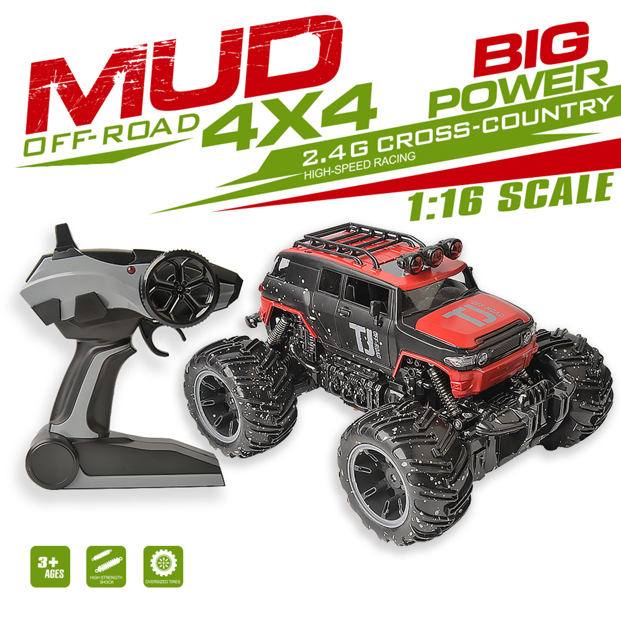 2.4G 1/16th High Speed Remote Control Mud Defender Jeep SUV Model Electric Truck RC Mud Truck