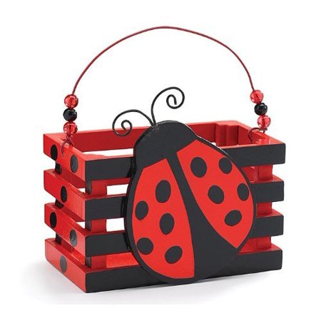 Adorable Ladybug With Hearts Wood Crate For Home Decor, Party Favor Or (Wood Ladybug)