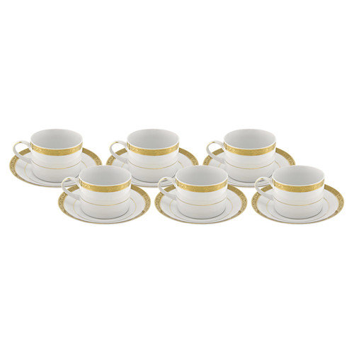 TenStrawberryStreet Vanessa Gold Teacup and Saucer (Set of 6)
