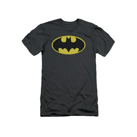 Batman DC Comics Classic Bat Logo Adult Slim T-Shirt Tee (Adult Batman Shirt)