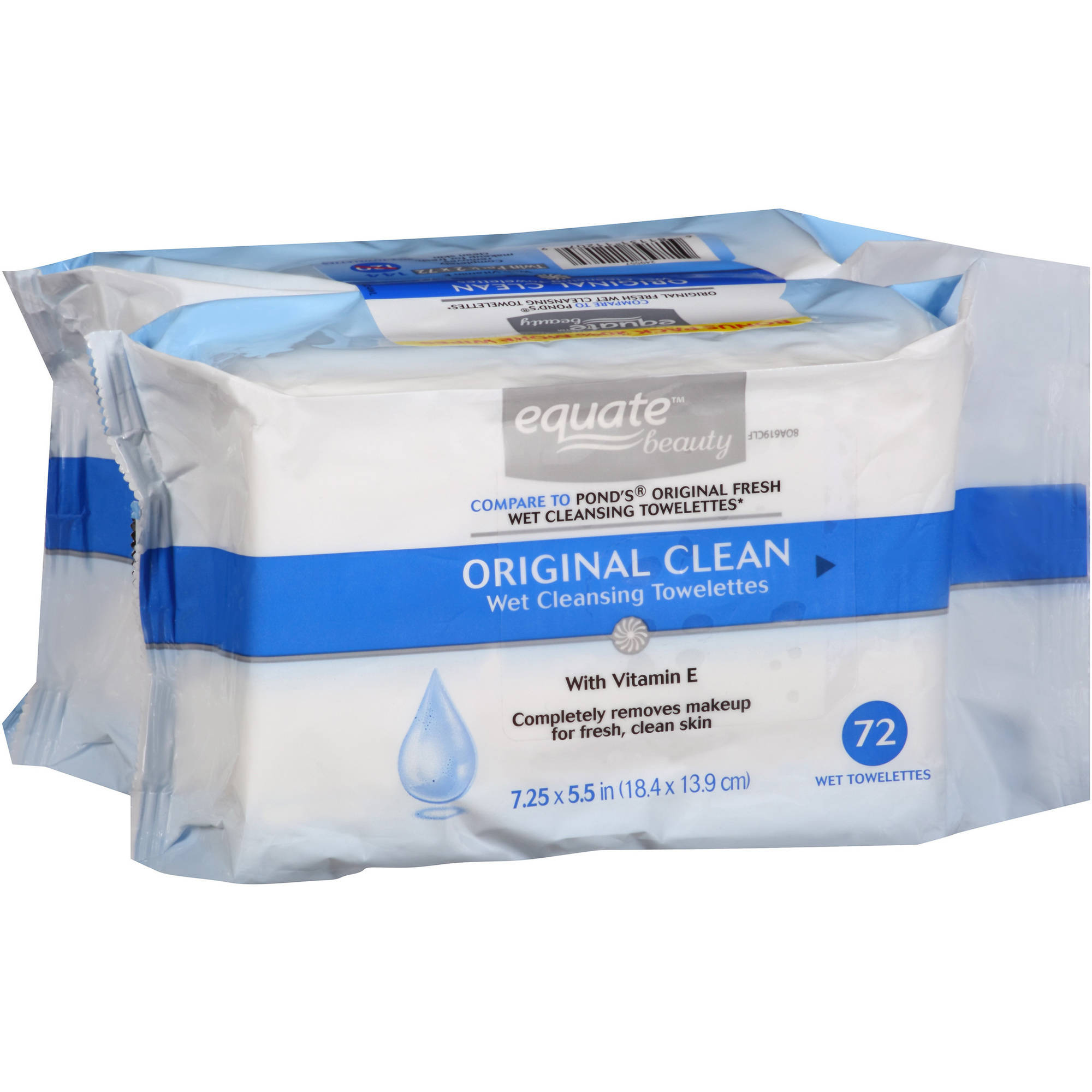 Equate Beauty Original Clean Wet Cleansing Towelettes, 72 sheets, (Pack of 2)