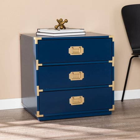 Southern Enterprises Kamdan Navy Blue 3-Drawer Accent Chest, (Southern Enterprises Kitchen Cabinet)