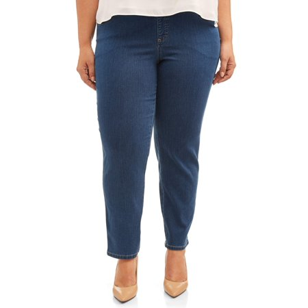 Terra & Sky Women's Plus Size Tummy Control Pull On 4 Pocket Jean with Stretch