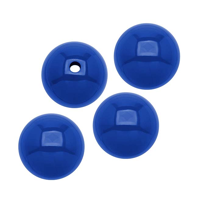 Smooth Acrylic Round Beads - Royal Blue - 10mm (36)
