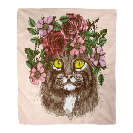 Design Hippie Cat (SIDONKU Throw Blanket 58x80 Inches Boho Maine Coon Cat Portrait with Floral Wreath for Your Design Hippie Tattoo Warm Flannel Soft Blanket for Couch Sofa Bed)