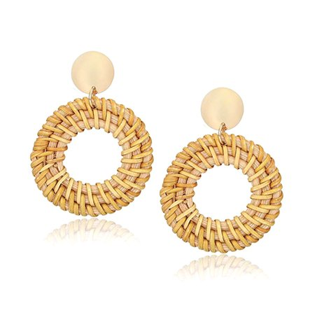 Rattan Earrings For Lady Handmade Straw Braid Drop Dangle Geometric Earrings