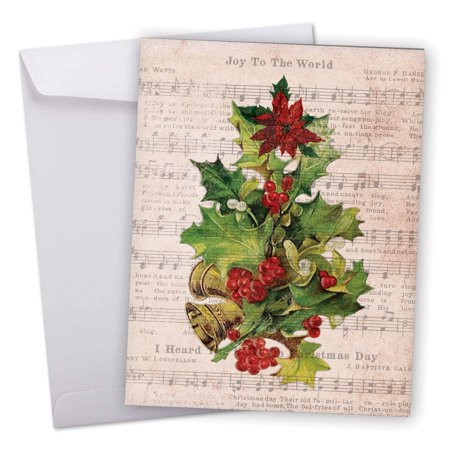 J6650BXSG Jumbo Merry Christmas Card: 'Holly Notes' Featuring Festive Holiday Foliage Atop Vintage Christmas Carol Song Sheets Greeting Card with Envelope by The Best Card Company ()
