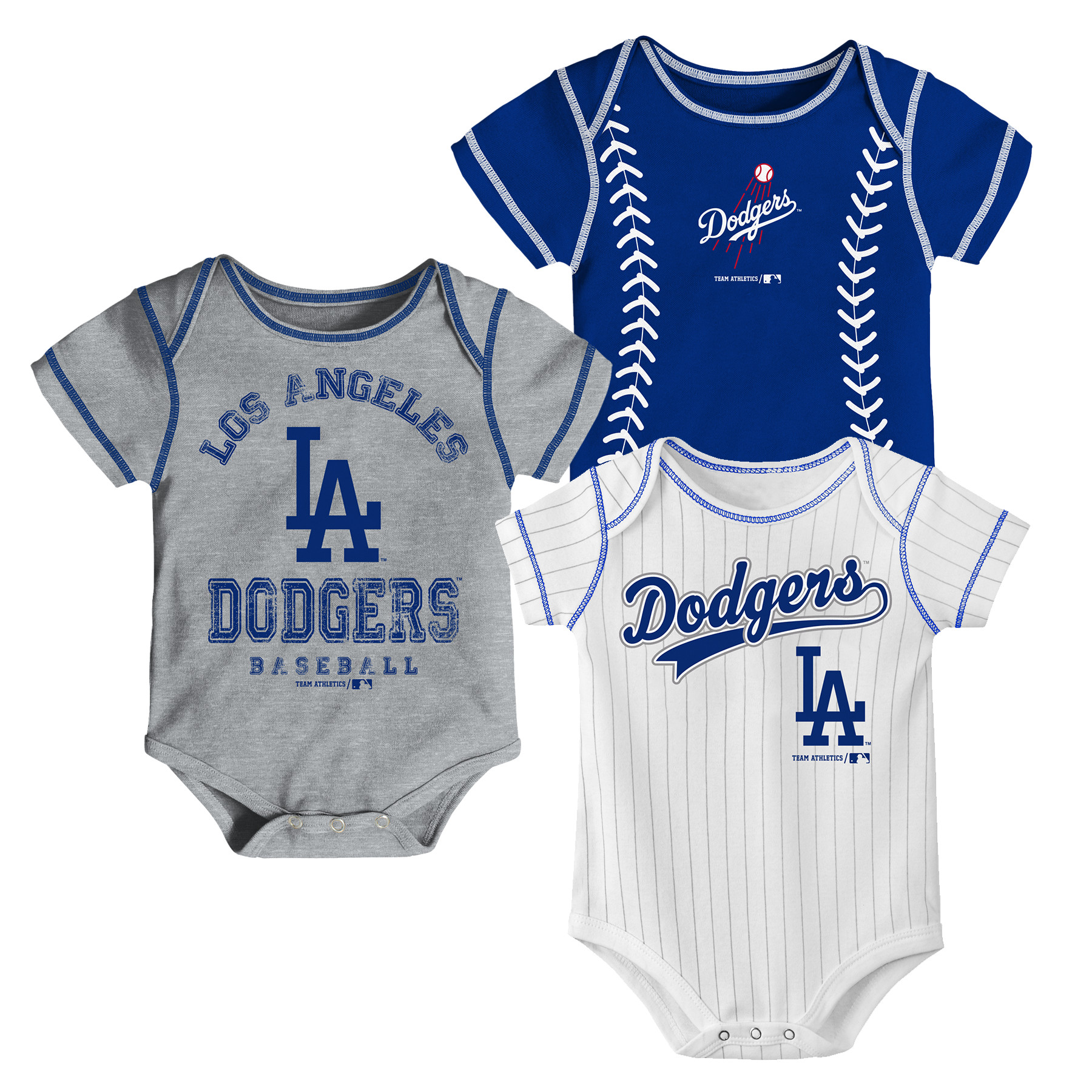 MLB Los Angeles Dodgers Onesie Creeper BOY 3PK 100% Cotton ASSORTED Colors 0M-18M