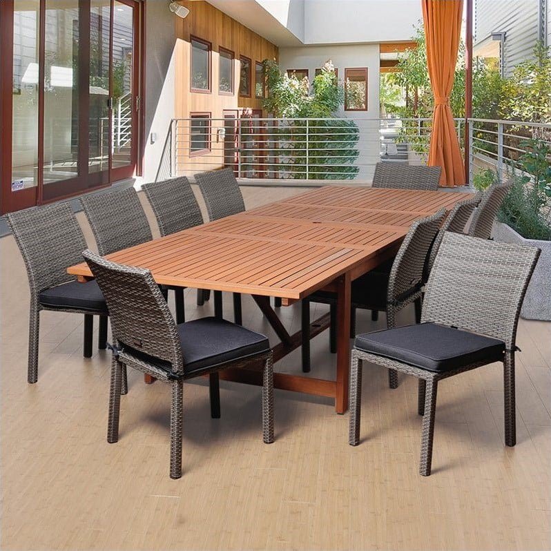 Angelo 11-Piece Eucalyptus Wicker Extendable Patio Dining Room Set by INTERNATIONAL HOME