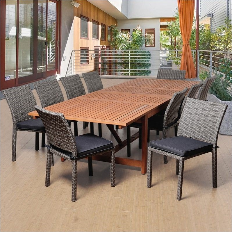 Angelo 11-Piece Eucalyptus/Wicker Extendable Patio Dining Set