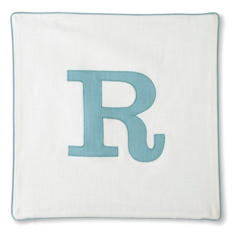 "Threshold Square Pillow BLUE Monogrammed Pillow Cover ""R"" by"