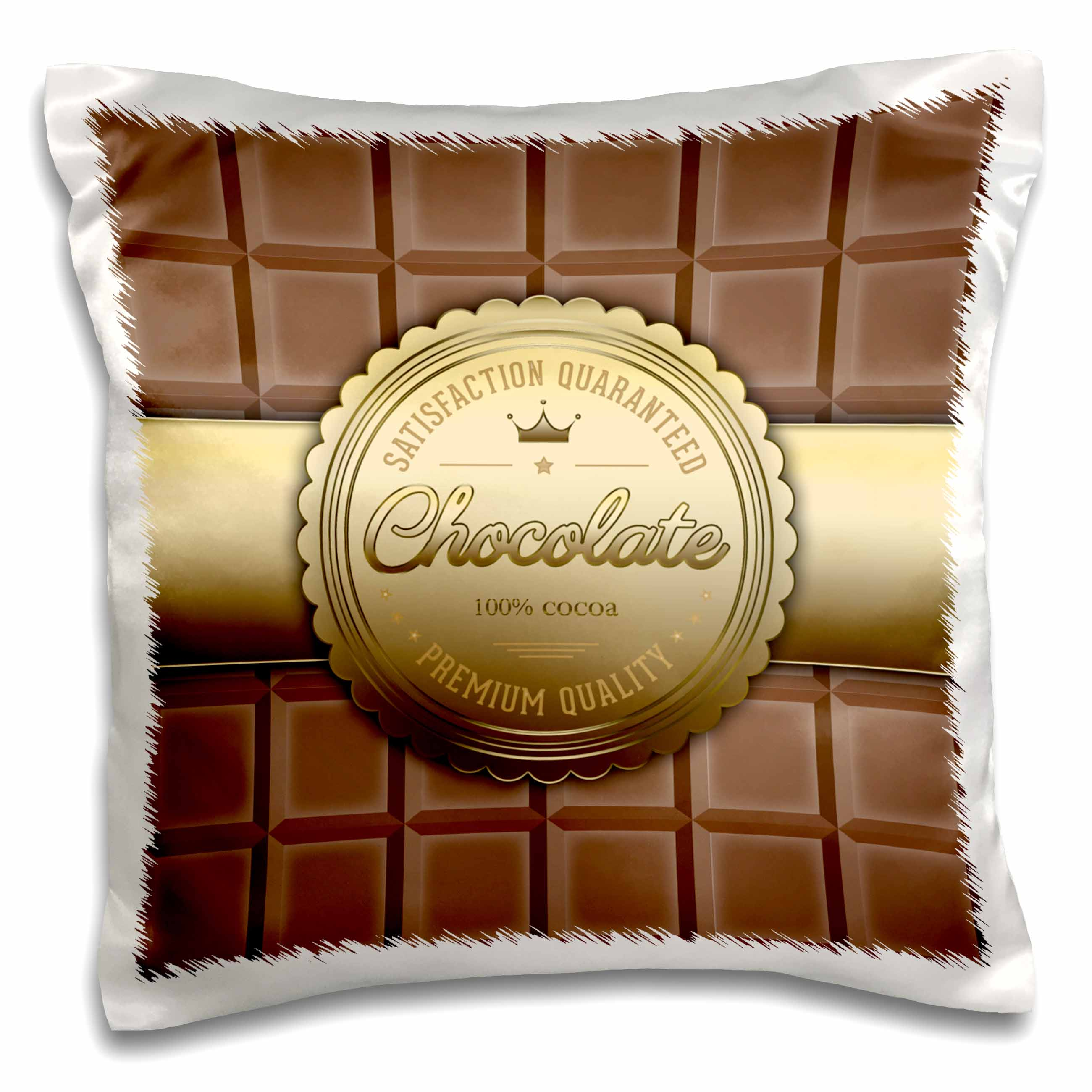 3dRose A Chocolate Bar with a Golden Seal, Pillow Case, 16 by 16-inch