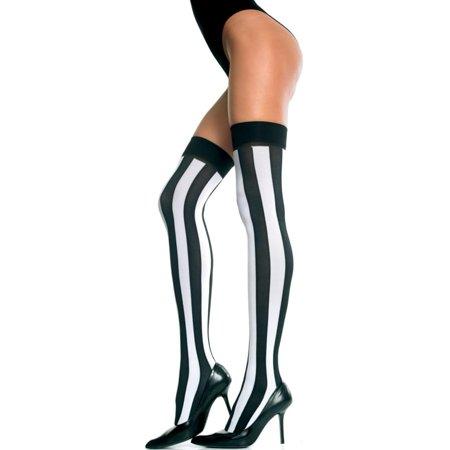 Striped Pantyhose (Opaque Vertical Striped Thigh Hi Nylon Costume)