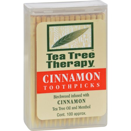 Cinnamon Tea Tree Toothpicks 100 count By - 12 Pack, Birchwood Toothpick Flavored With Cinnamon (Oil of Cassia), Australian Tea Tree Oil and Menthol. By Tea Tree Therapy