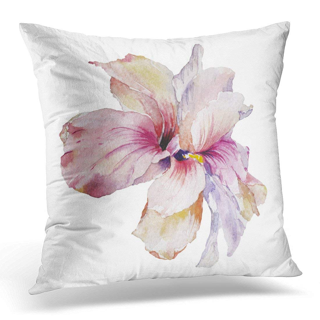 USART Watercolor Magic Tropical Exotic Flowers and Green Leaves Colorful Bright Wild Plants on White Pink Rose Pillow Case Pillow Cover 20x20 inch