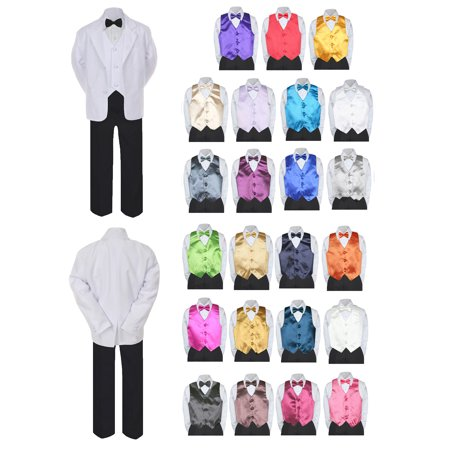 7pc Boy Formal Black & White Suit Tux Set Satin Bow Tie & Vest Baby Sm-20 - White Trash Outfit