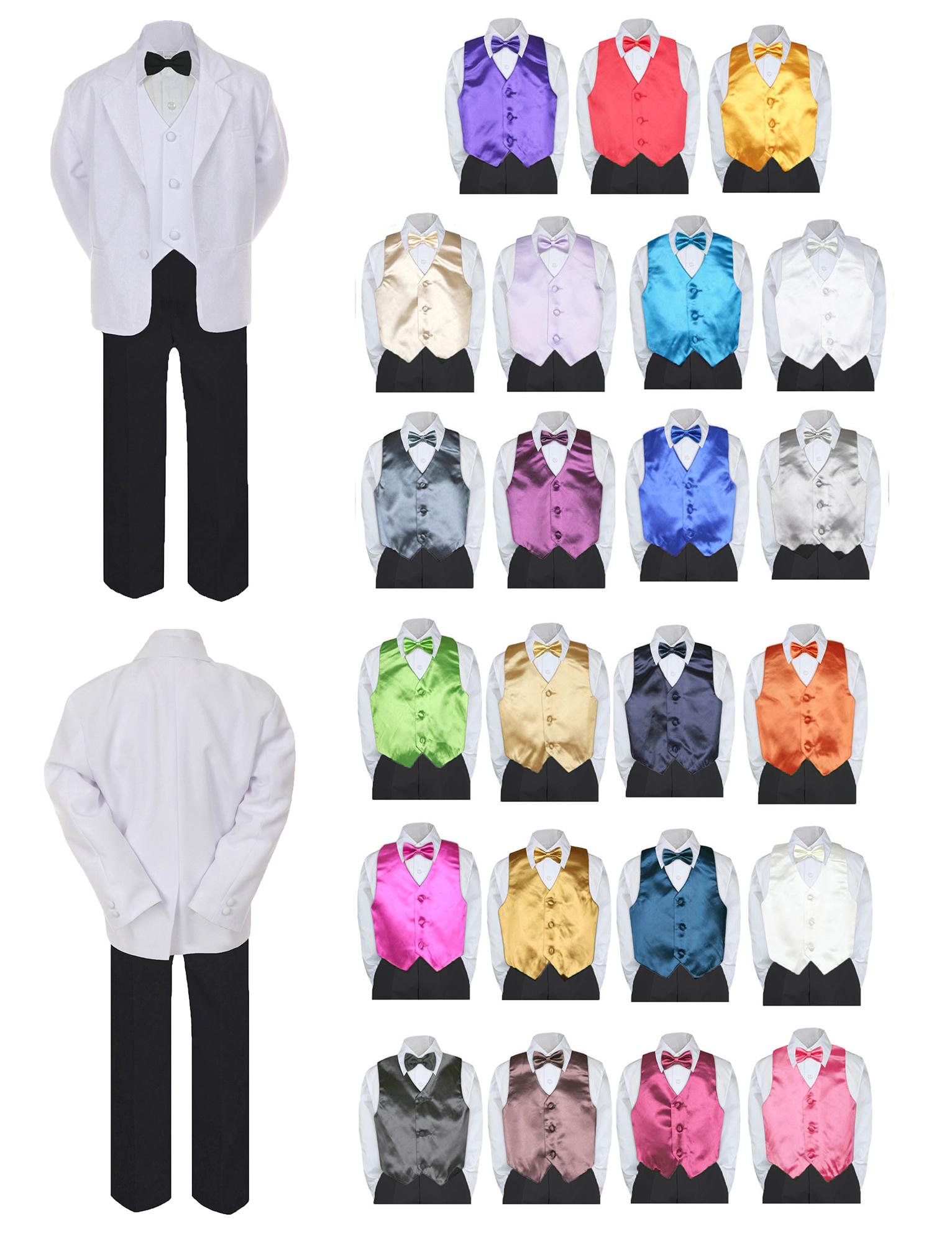 7pc Boy Formal Black & White Suit Tux Set Satin Bow Tie & Vest Baby Sm-20 Teen