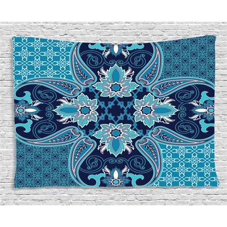 Navy Blue Decor Tapestry, Floral Paisley Design Bohemian Style Vintage Flower Petal Pattern, Wall Hanging for Bedroom Living Room Dorm Decor, 80W X 60L Inches, Blue Navy and White, by Ambesonne