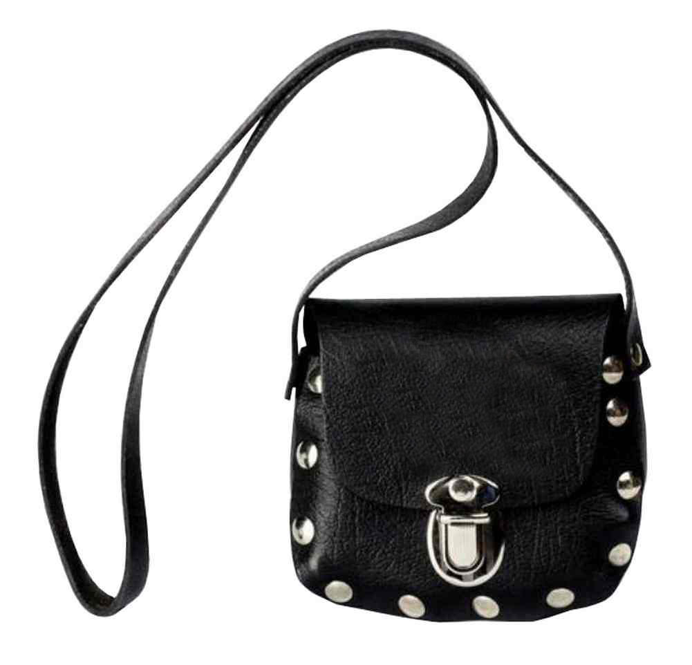 Genuine Leather Little Girls' Little Shoulder Bag Purse, Black Leather P32