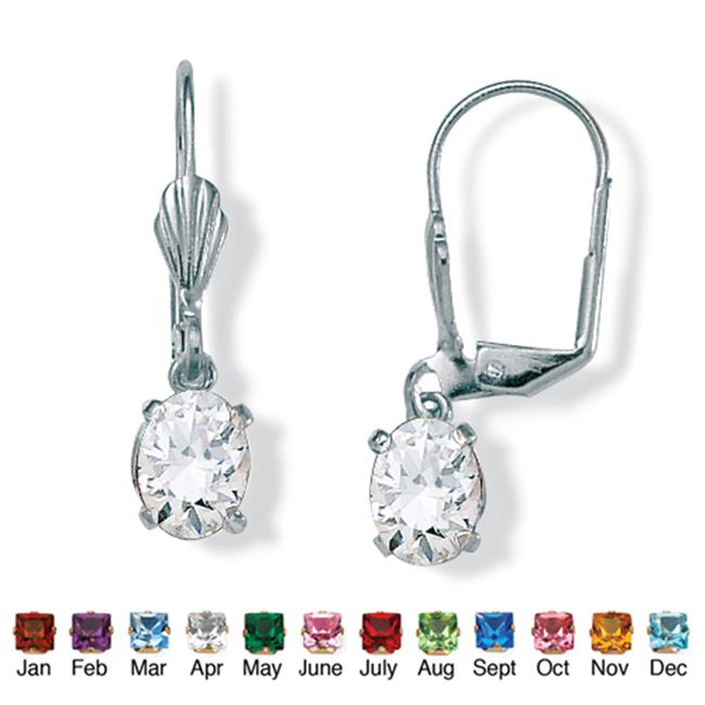 PalmBeach Jewelry 4785104 Oval-Cut Simulated Birthstone Silvertone Metal Drop Earrings April - Simulated Diamond