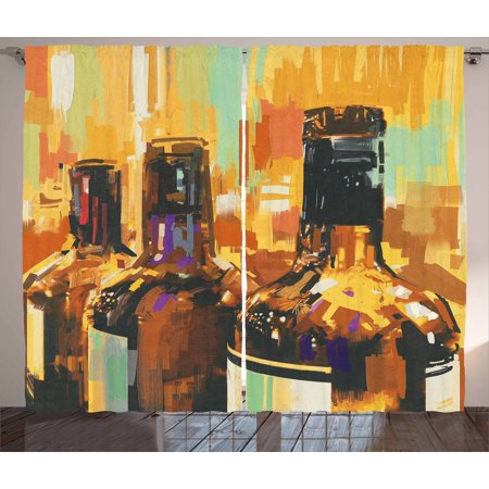 Wine Curtains 2 Panels Set, Colorful Painting Style Bottles of Wine with Vivid Bruststrokes Beverage Artwork Print, Window Drapes for Living Room Bedroom, 108W X 90L Inches, Multicolor, by Ambesonne