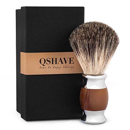 QSHAVE 100% Best Original Pure Badger Hair Shaving Brush Handmade. Faux Agate Handle. Perfect for Wet Shave, Safety Razor, Double Edge Razor - image 4 de 4